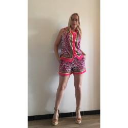 short leopard fuschia
